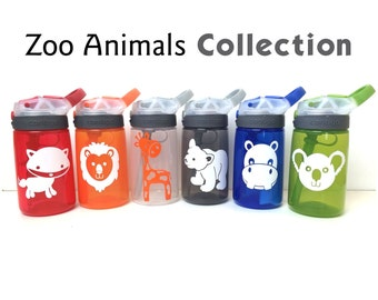 Contigo Water Bottle for Kids, Zoo Animal Water Bottle, Personalized Water Bottle, Personalized Sippy Cup, Zoo themed Birthday Party Favors