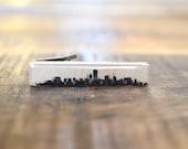 Chicago Tie Clip, Chicago Skyline, Wood Tie Clip, Wooden tie clip, Tie Bar, Wood Tie Bar Mens Accessory, tie clips men, tie clip personalize