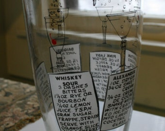 Mid Century Modern Glass Drink Shaker with Bartender Recipes