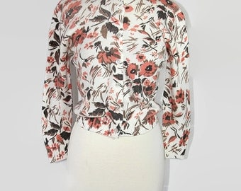 60s Sweater / Adele / Floral / Fall Fashion / Sweater Girl / Brown / Coral