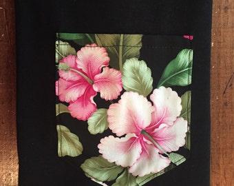Pink Hibiscus floral pocket tee shirt s/m/l/xl