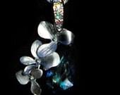 Orchids  Surrounding Bermuda Blue Swarvoski Crystal, Wedding, Prom, Anniversary