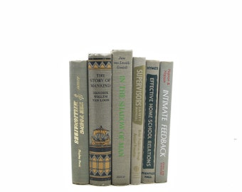 GRAY Decorative Books, Old Book Decor, Antique Wedding Centerpiece, Vintage Books, Grey Books, Book Collection, Book Set, Instant Library