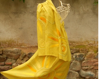 Linen Shawl, Yellow Linen Art Scarf With Felt Embroidered Sun, Large Linen Plus Size Wrap