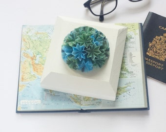 Globe Wall Sculpture - Origami Panel No10c - The Blue Planet - Map Paper Collage 5x5 Square Art Tile - World Travel Decor - White Wall Decor
