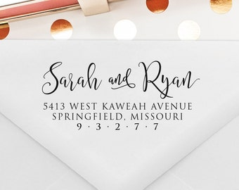 Return Address Stamp, Self Ink, Custom and Personalized Stamp, Wedding Gift, Wedding Stamp, Calligraphy Stamp  (T335)