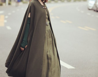 Maxi Wool Cloak Cape In Green, Long Wool Coat Jacket, Wool Cloak In Green, Wool Cape In Green, Winter Jacket For Women, Wool Poncho. Holiday