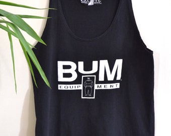 Vintage BUM Equipment Tank Top / 1990s Oversized Muscle Tee Black Tank Unisex Athletic Wear