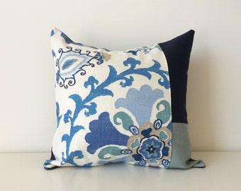 Braemore Color Block Patchwork Pillow Cover, 16x16, Linen Blend, Neutral Colors, Contemporary Patchwork, Floral, Suzani Print, Blues, Cream