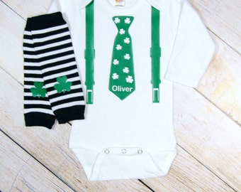St Patricks Day Baby Boy Personalized Shamrock Tie Suspenders Stripe Leg Warmers Baby Boy Gift