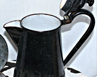 Rustic Black Enamelware Coffee Pot - Vintage - Germany - Kitchen Decor - Collectibles - Vase - Farmhouse Decor - Kitchen Utensil Holder