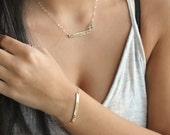 Gold bar bracelet, nameplate Personalized customized bar bracelet, 14k gold filled, custom stamped bracelet, skinny bar bracelet, name plate