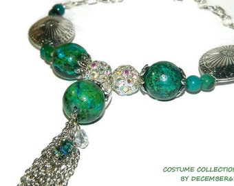 Chrysocolla Necklace, Necklace With Big Stones, Bead And Chain Necklace, Green Necklace