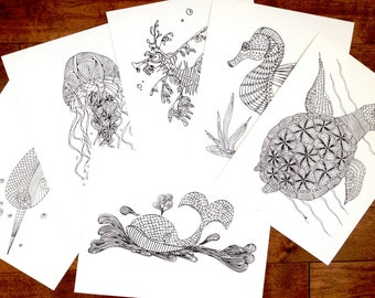 Instant Download Sea Creature Coloring Collection - Ocean Theme Colouring Pages