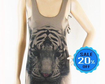 Tiger shirt graphic tank top funny tee  cool tee shirt bloger tank style top women tee women tank top sleeveless shirt brown tank top size S