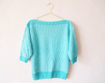 Vintage Hand-Knit Aqua Sweater w/ Bateau Collar, Three-Quarter Length Sleeves - Small-Medium