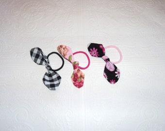 Ponytail Elastic, Retro Hair Elastic, Retro Hair Bow, Ponytail Bow, Pin up Elastic, Knot style Hair Bow, Gingham Hair Bow, Skull Elastic
