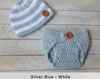 Baby Boy Hat and Diaper cover - Newborn Infant baby boy hats, crochet hats,  knitted hats, baby boy clothes, cover, baby gift