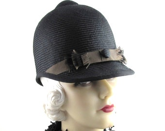 Womens Hat Black Brown Straw Riding Hat Black Ribbon Handmade Hat Church Hat Wedding Ascot Derby Races Art Deco Custom Made for Each Client