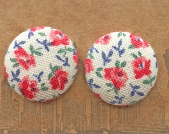 Handmade Earrings / Fabric Covered Buttons / Wholesale Jewelry / Gifts for Her / Stud Earring / Vintage Floral Print/ Bulk Earrings