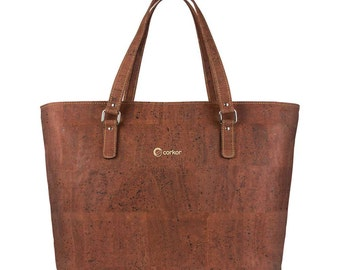 Vegan Cork Bag - Laptop Tote Bag - Womens Shoulder Bag with Adjustable Long Strap - Woman Handbag - Perfect Gift for Her - Red (CK147)