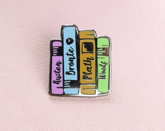 Literature Ladies Enamel Pin -  Book Enamel Pin Badge, Feminist Pin, Jane Austen, Bronte, Sylvia Plath, Virginia Woolf - Gift for Book Lover