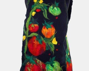 Felted Scarf Nunofelt Wrap Tomato Art VEGETABLES ARE BEAUTIFUL Shawl Black scarf Noir Scarves Felt Nunofelt Nuno felt Silk shawl Fiber Art