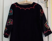 Women's Black Long Sleeve Dress With Cool Embroidery Size Small Cotton Boho