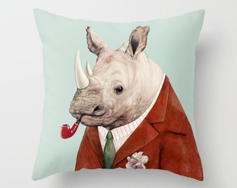 Rhino Throw Pillow, Animal Pillow, Rhinoceros Pillow, Animal Cushion, Decorative Cushion, Rhino Pillow
