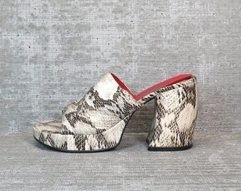 Vtg 90s Snakeskin Chunky Heel Mules Slip On Clogs Shoes 7