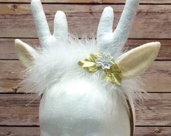 REINDEER ANTLER HEADBAND, White, Christmas Costume Accesssory, gift, xmas, photo prop, favor, gold, artic, elk, toddler, adult, kids, child