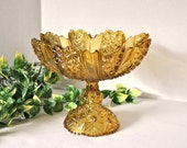 Early American Pattern Glass Amber Pedestal Compote Candy Dish Large, EAPG Paneled Daisy and Button Pattern