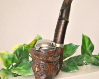 Vintage Rare Germany Schowa Tobacco Face Pipe, Hand Carved Wooden Old Man in Hat Smoking Pipe with DBGM Germany Hinged Metal Lid, Mens Gift