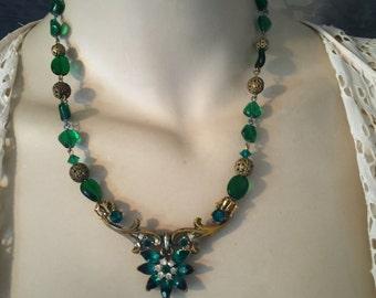 1950s ReStyled Rhinestone, Filigree Necklace, Deep Emerald Green