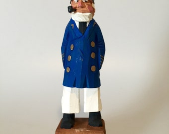 Vintage Carved Wood Sailor Sea Captain Blue Coat White Hat