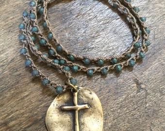 Artisan Cross Necklace, Crochet Necklace, Boho Necklace, Rustic Cross Pendant, Crocheted Jewelry, Blue Beaded Necklace, Faith Jewelry
