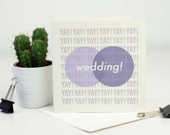 Modern Congratulations YAY! Wedding! Venn Diagram Minimalist Greetings Card