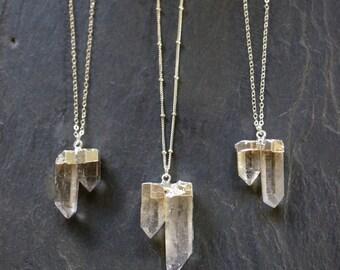 Raw Quartz // Quartz Necklace // Silver Quartz  // Quartz Necklace // Raw Quartz  // Crystal Necklace