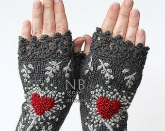 Hand Knitted Fingerless Gloves, Heart, Dark Grey, Red, Gray, Gift Ideas, size M, M/L