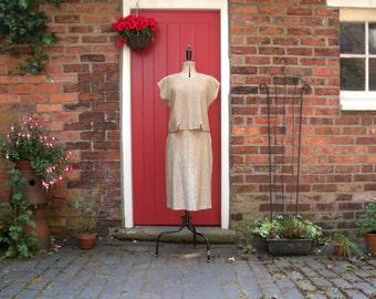 50s 60s gold lurex skirt set / 1950s glitter two piece / mid century VLV / pin up bombshell / Mad Men suit
