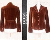 Elegant Jacket,coat, blazer. Vintage Hugo Boss, velvet in warm maroon, chocolate brown suit. Luxuorious, designer Business woman. size M