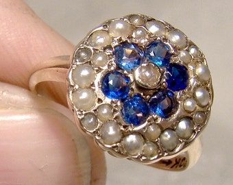 Victorian 10K Iolites Seed Pearls Ring 1880s Flower Circle 10 K Size 4