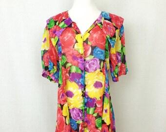 Vintage 80s Floral Dress/ Vibrant Multi Colored Flowy Mini Dress/ Medium
