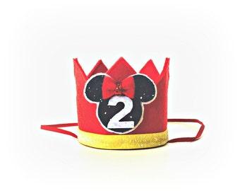 Mickey Mouse Crown Party Mickey Ears Felt Crown Headband Photo Prop Cake Smash