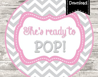 Instant Download Ready to Pop Pink Gray Chevron Baby Shower Cupcake Topper Favor Tag Digital Printable