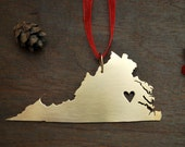 Large Brass Virginia Ornament - Hand Sawn Metal - State Outline with Heart - Hometown Map ornament - Artisan Christmas Gift - Housewarming