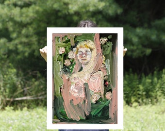 Floral Art Print, Gardens, Portrait Painting, Large Wall Art, Giclee Art Print