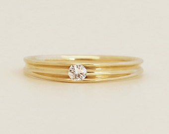 Unique Engagement Ring, Small diamond engagement ring, Delicate engagement ring, Thin diamond solitaire ring, 14k solid gold diamond ring.