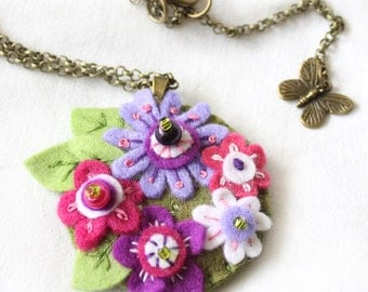 Embroidered Pendant Felt Flowers Necklace, Purple and Pink Felt Medallion, Colourful Pendant Chain Necklace, Embroidered Gifts for Her