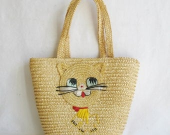70s Vintage Straw Basket Mini- Tote w/Kitty Cat from The Peoples Republic of China